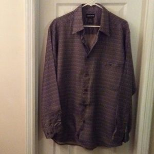 Claiborne Men Tan/Black Print Dress Shirt Sz Large